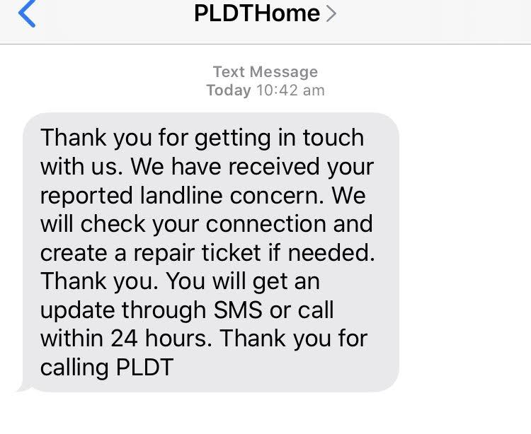 PLDTから送られてきたSMS