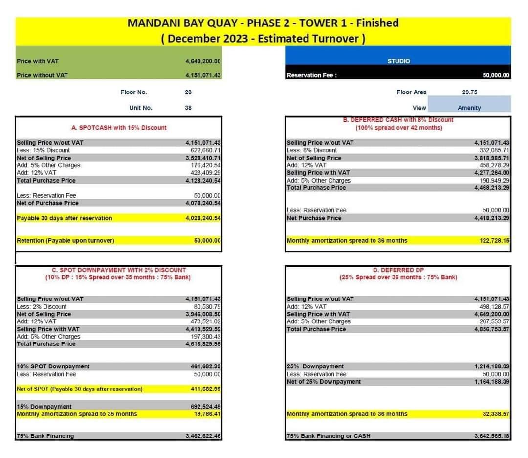 マンダニベイQuay T1スタジオユニットの価格表