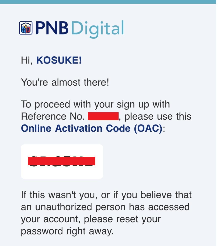 登録しているEMAILにOACが送られてきます
